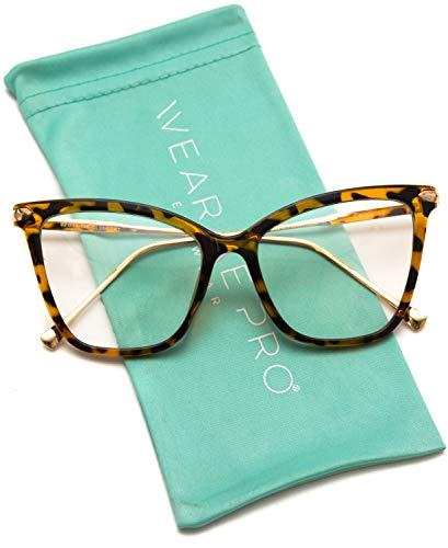 - WearMe Pro - New Elegant Oversized Clear Cat Eye Non-Prescription Glasses