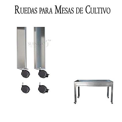 KIT UNIVERSAL 4 RUEDAS para MESAS DE CULTIVO. Kit compuesto por 2 ruedas con freno y ...