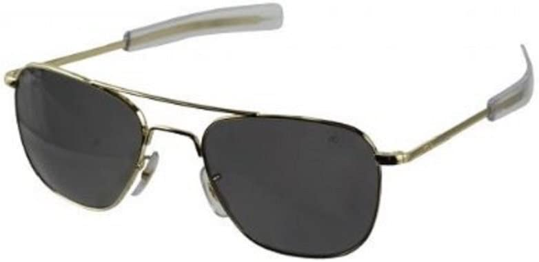 American Optical Eyewear Original Pilot Gafas de sol con montura dorada de 55mm con varillas tipo bayoneta y cristales de color verde