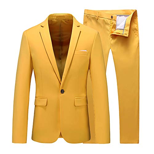 - UNINUKOO Mens Slim Fit 2 Piece Single Breasted Jacket Party Prom Tuxedo SuitsUS Size 31 (Label Size M) Yellow