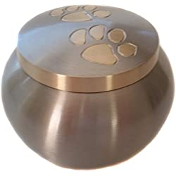 Perfect Medium Paw Print Pet Urn for Your Loving Dog or Cat Ashes, in Brushed Silver