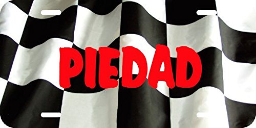 Any and All Graphics PIEDAD name on Checkered Flag design racing novelty license plate sign (La Piedad)