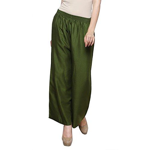 TruDx Mehandi Green Palazzo Pants Wide Leg High Waist Pajama Lounge Comfy Pants