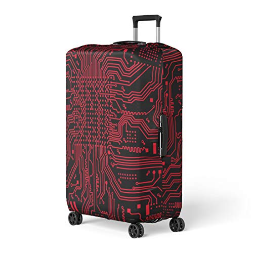 c523953cdf7e Semtomn Luggage Cover Pattern High Tech Circuit Board Computer Learning  Microchip Technology Travel Suitcase Cover Protector Baggage Case Fits  18-22 ...