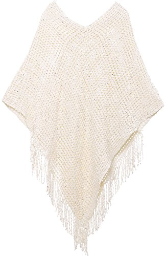 AshopZ Womens Soft Knit Shawl Wrap Tassel Edge Sweater with SequinsBeige
