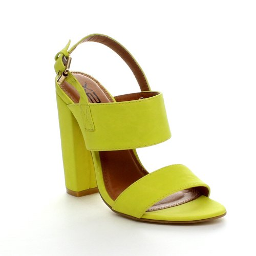 X2B FAY-1 Women's Round Toe Buckle Ankle Strap Chunky Heel Dress Sandals, Color:LEMON, Size:6.5