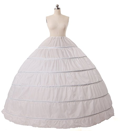 Youyougu Women's 6 Hoop Ball Gown Puffy Petticoat Underskirt Full Slips For Wedding Dress Formal Evening Dress White