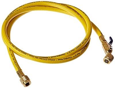 "Yellow Jacket 29072 Plus II 1/4"" Hose with Compact Ball Valve, 72"", Yellow"