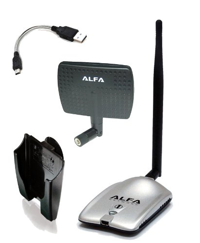Alfa AWUS036H High power 1000mW 1W 802.11b/g High Gain USB Wireless Long-Rang WiFi network Adapter with 5dBi Rubber Antenna and a 7dBi Panel Antenna and Mini bendable Flex cable and Suction cup / Clip Window Mount