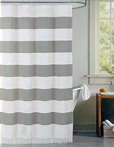 Envogue Shower Curtain Wide Gray and White Horizontal Stripes Pattern Fringe Tassel Edge 100% Cotton Luxury - Cabana ()