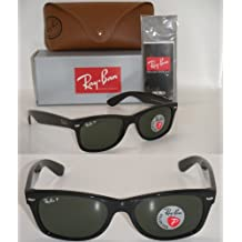 RAY BAN NEW WAYFARER 2132 BLACK FRAME NATURAL GREEN POLARIZED RB2132 901/58 52MM