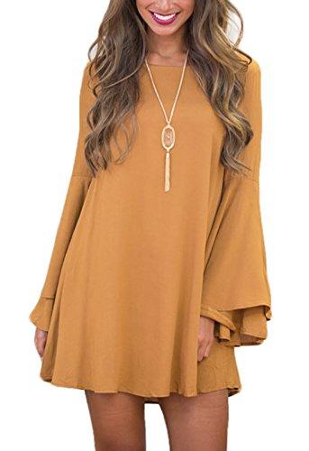 Nu Robes Robe Dos Casual Jaune Flare Sleeve Mini Rond Col Pretty t Lache Couleur Unie Smalltile de Fashion Femme Plage q80gBaxS