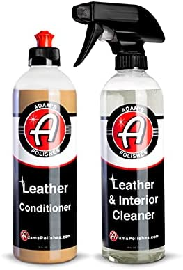 Adam's Leather Care Kit – Leather Cleaner & Leather Conditioner Car Cleaning Supplies   UV Protection for Interior Accessories Steering Wheel Seat Dash Vinyl Shoe Polish Jacket   Safe Auto Chemical