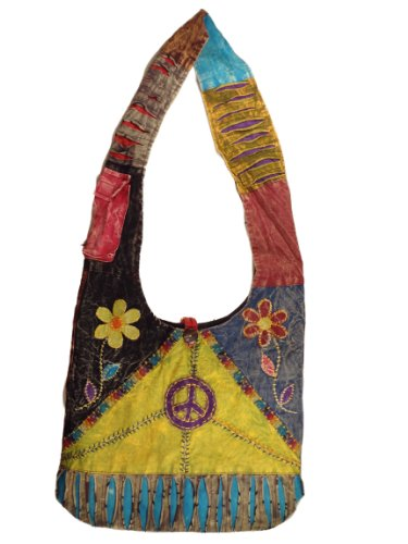 Bohemian Peace Patchwork Bag Crossbody Purse Handmade in Nepal Fair Trade By Ragged Ends, Bags Central