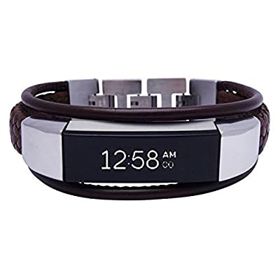 Fitbit Alta Band Aurel 2- Brown - stainless steel and real leather - Jewelry for Fitbit Alta - Fitbit Alta Band - Fitbit Alta Accessories - Fitbit Alta Leather Band (No Tracker)