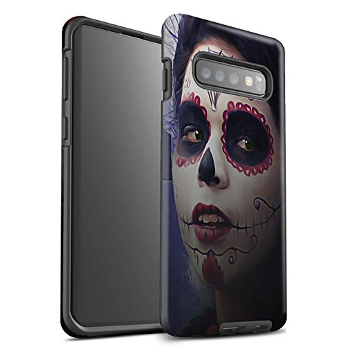 (eSwish Matte Tough Shock Proof Phone Case for Samsung Galaxy S10 Plus / Halloween Makeup Design / Day Of The Dead Festival)