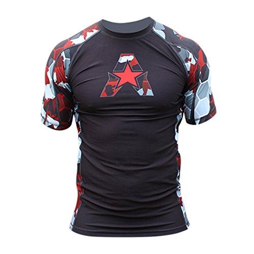 (Anthem Athletics New! 10+ Styles HELO-X Short Sleeve Rash Guard Compression Shirt - BJJ, MMA - Red Camo Hex - Large)