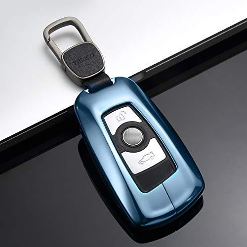 (Topsmart Aluminum Alloy Car Key Case Cover for BMW (Charm Blue))