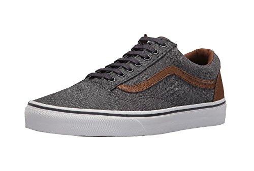 Vans Hommes Vieux Skool Denim / Marron Cuir Chaussures De Sport Chaussures Denim / Cuir Marron