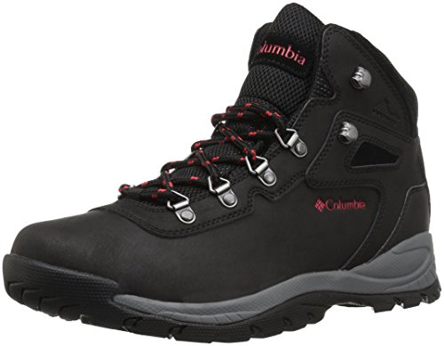 Columbia Women's Newton Ridge Plus Hiking Shoe, Black, Poppy Red, 7 Wide US by Columbia