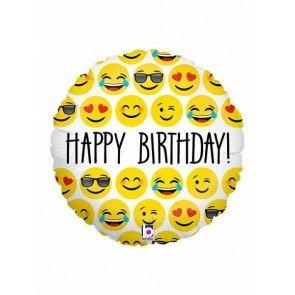 Emoji Birthday Balloon - 18 Inch Emoji Mylar Balloon - 1 count - Mayflower Wood