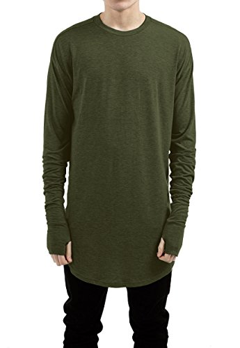 - LILBETTER Mens Thumb Hole Cuffs Long Sleeve T-Shirt Basic Tee (M, Army Green)