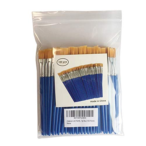 Children's Art Paintbrushes,Little Painting Brushes for Kids with Flat Tip Blue 14cm (100 Pieces)