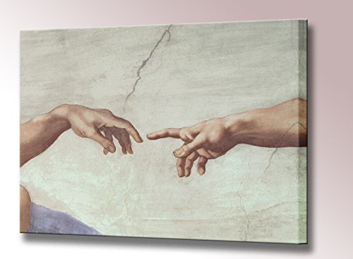 Hands of God and Adam The Creation of Adam Canvas Print by Michelangelo Sistine Chapel Ceiling Framed Wall Art Picture Ready to Hang Stretched (43 x 33 cm) (Chapel Adam Sistine)