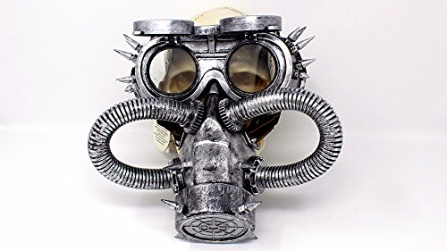 Apocalyptic Costumes - Steampunk Spiked Flip Goggles and Biohazard Costume Gas Mask with Tubes Realistic Looking post-apocalyptic look