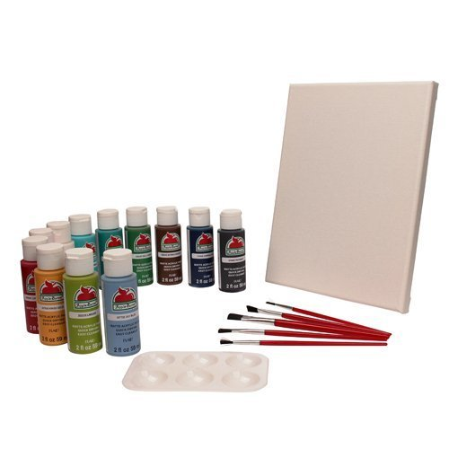 Apple Barrel Paint Set Pack of 18 – Best Acrylic Paint | Featuring 1 Stretched Canvas, 5 Paint Brushes, 12 Colors, and Palette (Acrylic Paint Set)