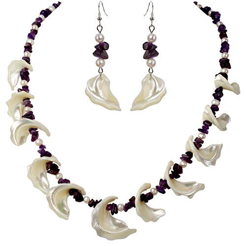 YACQ Freshwater Pearl Mother of Pearl Natural Amethyst 925 Sterling Silver Necklace Dangle Earrings Handmade Jewelry Sets for Women Teen Girls 20