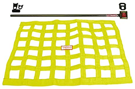 Southwest Speed New Yellow Racing Window NET & Push Button Installation KIT  W/Hardware,18