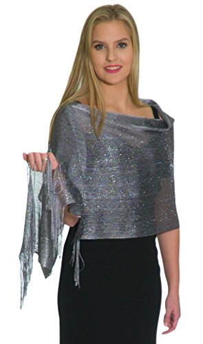 Shawls and Wraps for Evening Dresses - Sheer Bridal Womens Scarves for Prom, Wedding, Party - Scarfs for Women with Fringe by Petal Rose - Metallic Grey - Gown Dress Shawl Wedding