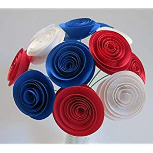 USA Patriotic Flower Centerpiece, Red White and Blue Paper Roses on Stems, 4th of July Picnic Decorations, Wedding Decor, US Pride, France Flag Colors, Military Ball Table 76