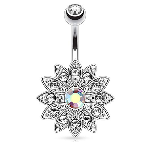 BodyJ4You Belly Button Ring Flower Paved Clear Aurora CZ Crystal 14G Navel Banana Steel Curved Bar