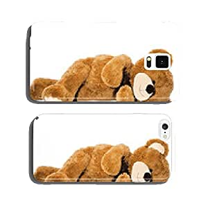 Sleeping teddy bear isolated on white cell phone cover case iPhone5