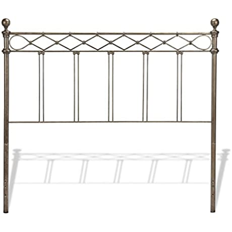 Argyle Headboard With Round Finial Posts And Diamond Wire Metal Grill Design Copper Chrome Finish Queen