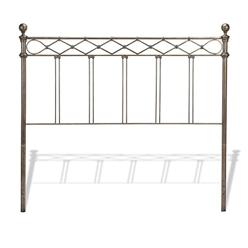 Leggett & Platt Argyle Metal Headboard Panel with Diamond Pattern Top Rail and Double Spindle Castings, Copper Chrome Finish, Queen