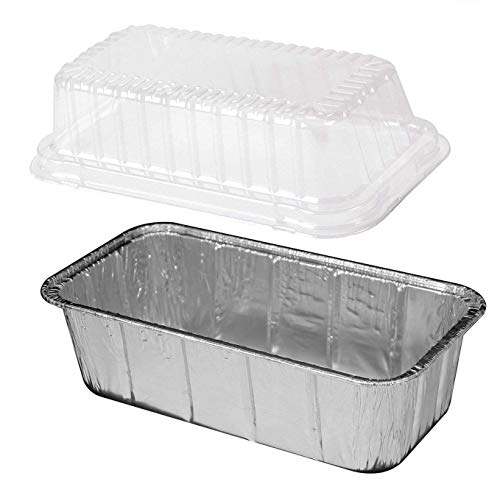 Durable Packaging 2 lb. Aluminum Foil Loaf Pan w/ Clear Dome Lid 25/Pk -Disposable Bread Container (pack of 25)