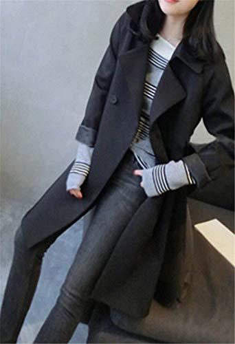 Tasche Outwear Giacca Laterali Bavero Lunga Schwarz Invernali Inclusa Double Manica Donna Coat Semplice Eleganti Breasted Confortevole Cintura Trench Glamorous Vento 0UnwqF1