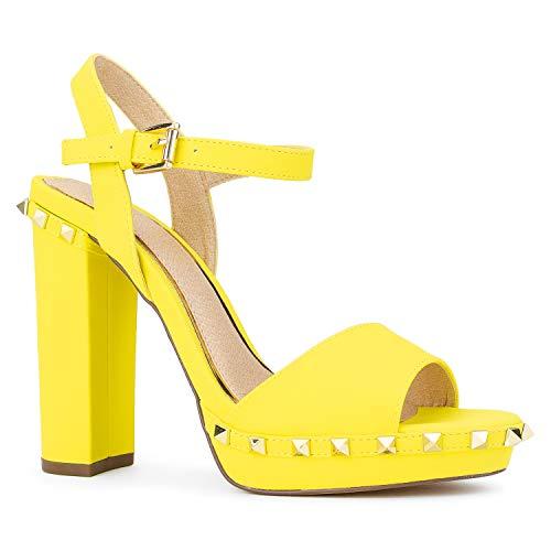 (RF ROOM OF FASHION Studded Platform Chunky Heel Dress Sandals Pumps Yellow Size.6.5)