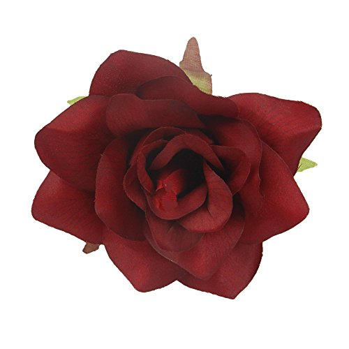- Lot of 48 Flower Heads: Open rose artificial. No stems (Apple Red)