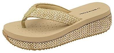 8c0894abdf4f Womens Dunlop Sandals Platform Wedge Flip Flops 5 UK Full Raffia Beige
