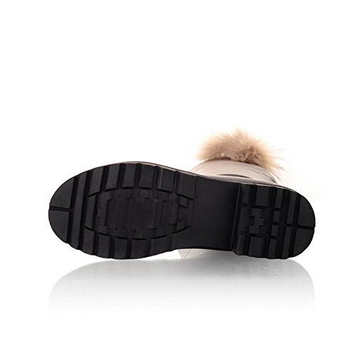 Closed Round Fur with Material Boots Black Toe Heels PU AmoonyFashion Solid M 8 Ornament B Low US Womens Soft 7E5wnqP