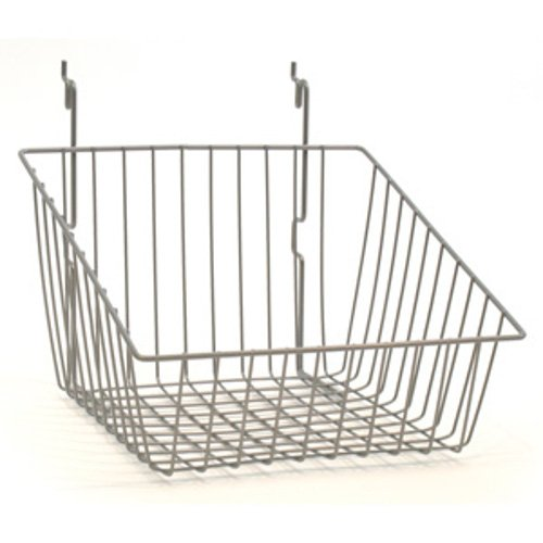 Lot of 8 Chrome Sloping Basket for Pegboard, Slat/Grid Wall 12''wx12''dx8''h