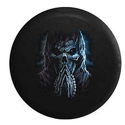 Praying Reaper Rosary Cracked Skull Night Sky Spare Tire Cover Black 29 -