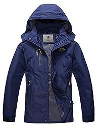 WenVen Mens Lightweight Waterproof Coat Outdoor Hooded Rain Jacket Softshell(Dark Blue,L)