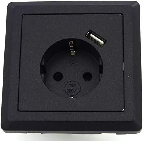 Enchufe Schuko con 1 puerto de carga USB (máx. 2,1 A) negro, cabe ...