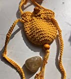 Amulet bag & stone ~ Yellow Crochet pouch ~ Citrine stone~ Ravenz Roost Hand made item For Sale
