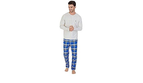 Nautica Plaid Knit Pajama Set Oatmeal Heater